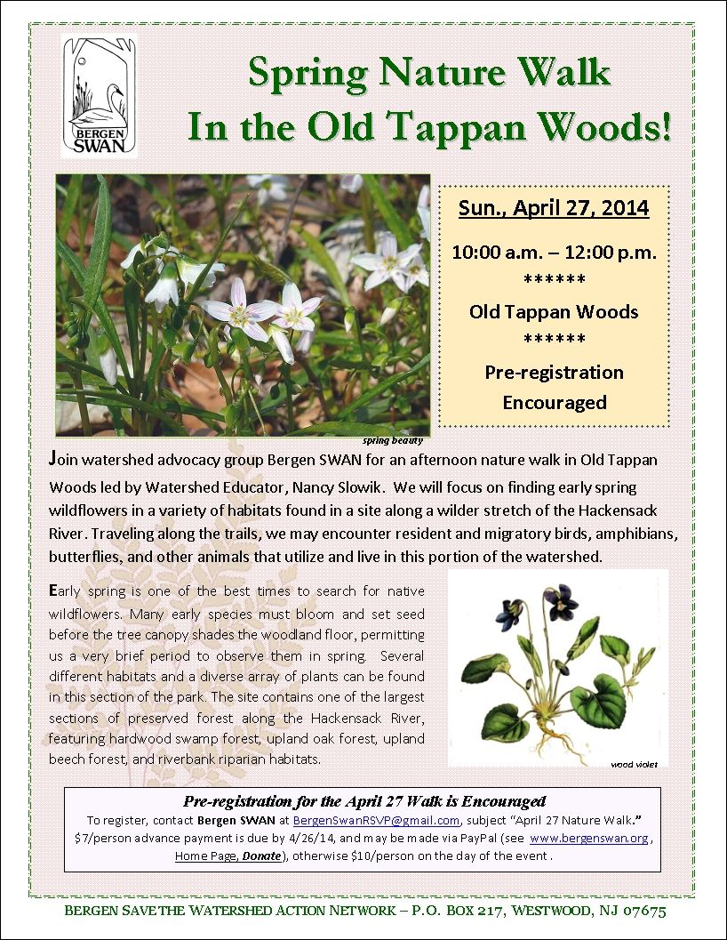 2014 Old Tappan Woods nature walk flyer